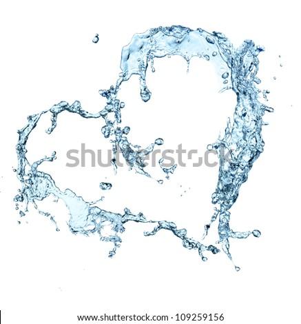 Water splash heart over white - stock photo