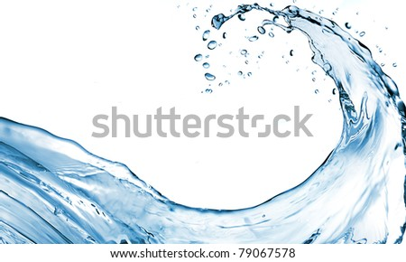 water splash in blue color - stock photo