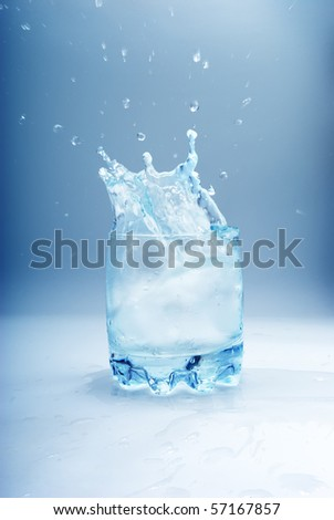 Water splash in glass. Element of design. - stock photo