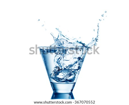 water splash in glasses isolated on white.