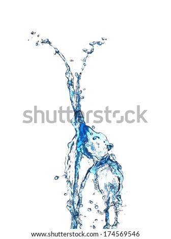 Water splash isolated in white