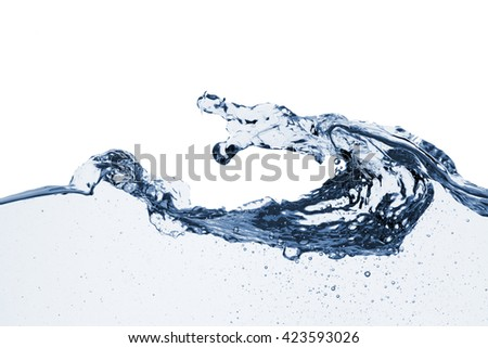 Water splash isolated on white backgroundBlue liquid waves background with place or space for copy and text  - stock photo