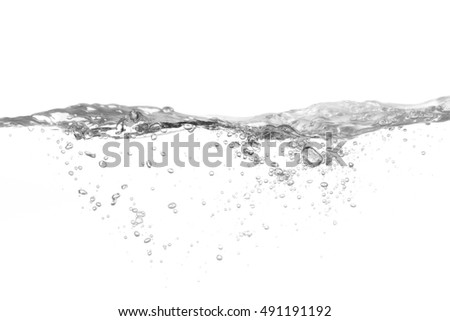 Water splash isolated on white background, Water splash with bubbles of air,
