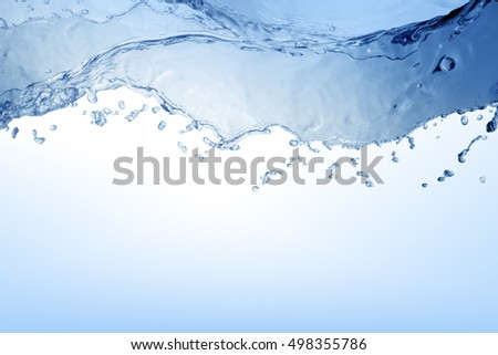 water splash isolated on white background, water wave