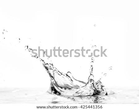 water splash -  liquid wet wash splashing clear clean wave white gray background - stock photo