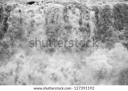 Water splash of Dettifoss, the most powerful waterfall in Iceland - stock photo