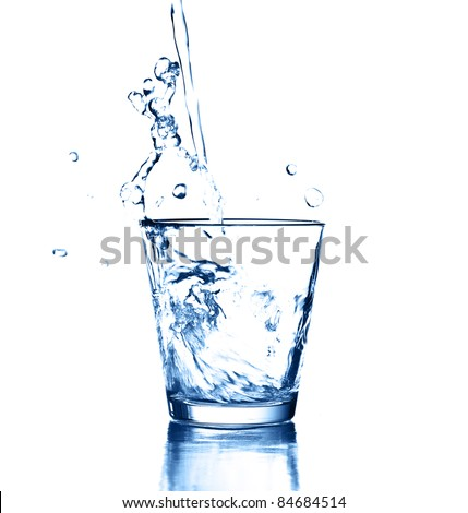water splash on glass on white background - stock photo