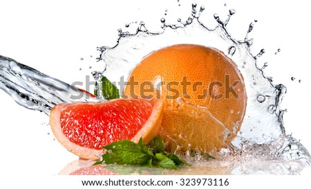 Water splash on grapefruit with mint isolated on white. Header for website - stock photo