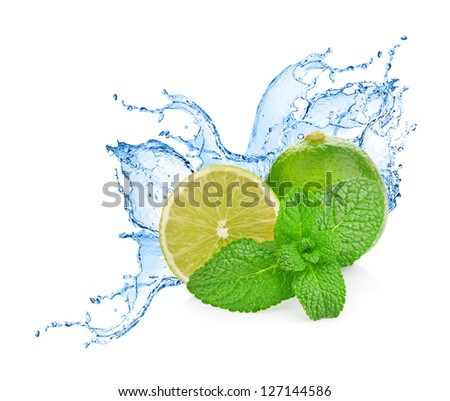 Water splash on lime with mint isolated on white - stock photo