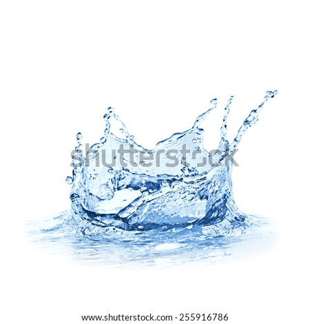 Water splash over white background