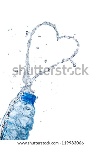 Water splash peach heart shape, the theme of love - stock photo
