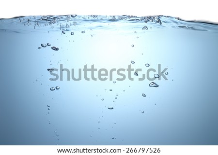 Water splash with bubbles of air - stock photo