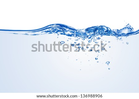 Water splash with bubbles of air, isolated on the white background. - stock photo