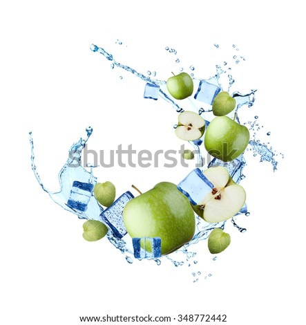 Water splash with fruits and ice cube isolated on white backgroud. Fresh apple - stock photo