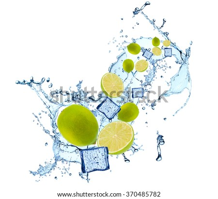 Water splash with fruits and ice cube isolated on white backgroud. Fresh lime - stock photo