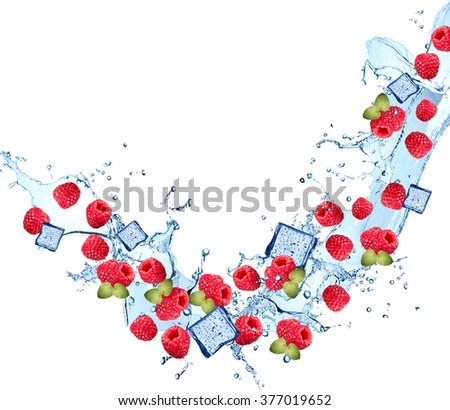 Water splash with fruits and ice cube isolated on white backgroud. Fresh raspberry - stock photo