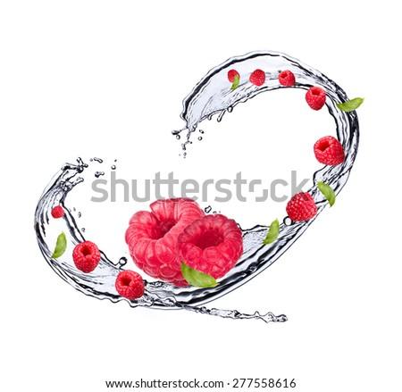 Water splash with raspberry - stock photo