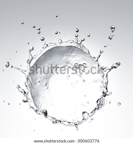 water splash with ripple from top view - stock photo