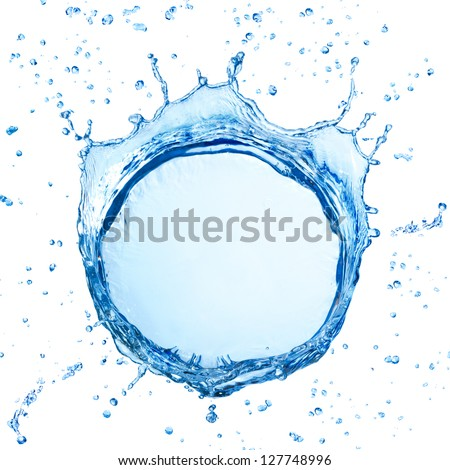 water splash with ripple from top view isolated on white - stock photo