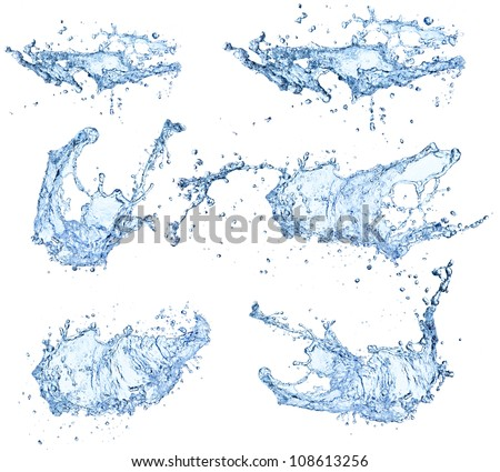Water splashes collection isolated on white background - stock photo