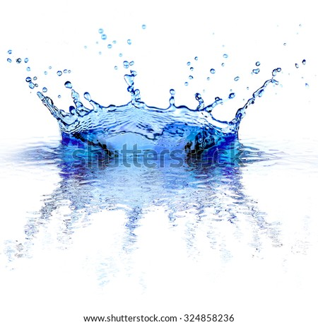 Water splashes isolated on white - stock photo