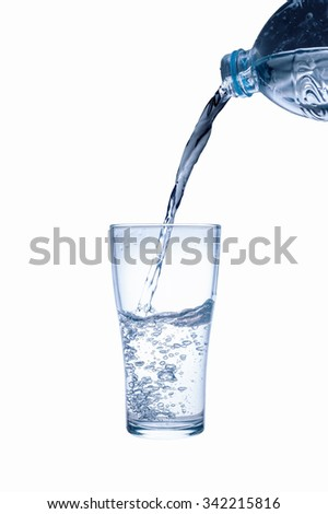 Water splashing from plastic bottle isolated on white background, Clipping path