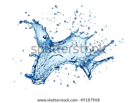 Water splashing isolated on white background - stock photo