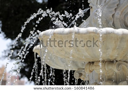 Water Splashing out of a Marble Fountain and Pigeon in Santa Cruz de Tenerife, Spain