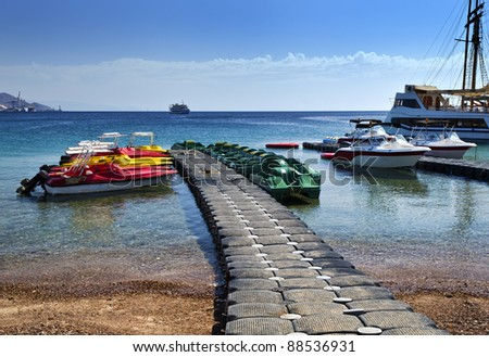 Water sport and facilities for entertainment and sport activities in famous resort and recreation center of Israel - Eilat city - stock photo