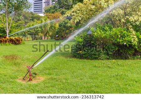 Water Sprinkler in public park. - stock photo