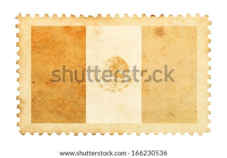 Water stain mark of Mexico flag on an old retro brown paper postage stamp.  - stock photo
