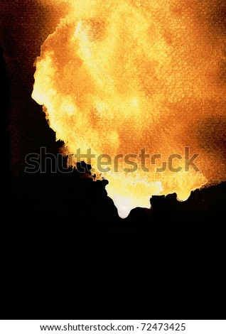 Water stains on the paper burning. - stock photo