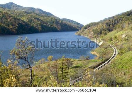 Water storage basin on the river Tyj, island Sakhalin - stock photo