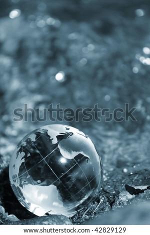 Water  stream, globe, ecology - stock photo