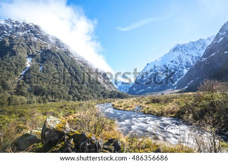 Water stream with snow mountain at monkey creek, New Zealand