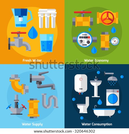 Water supply design concept set with economy and consumption flat icons isolated  illustration - stock photo
