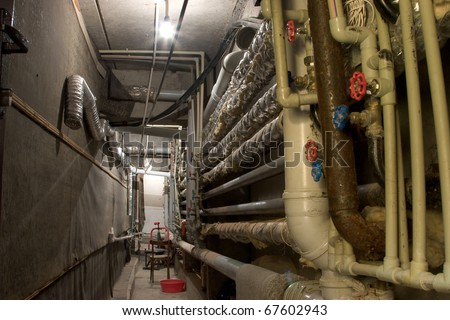 water supply pipes at the utility room - stock photo