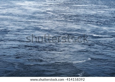 Water surface with lots of maelstroms and ripples. Abstract natural background