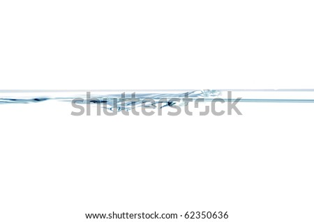 Water surface with small air bubbles isolated on a white background. - stock photo