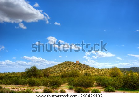 Water tank in Sonora desert in central Arizona USA - stock photo