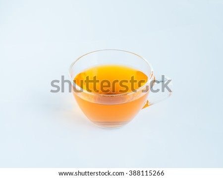 water tea in cup on white