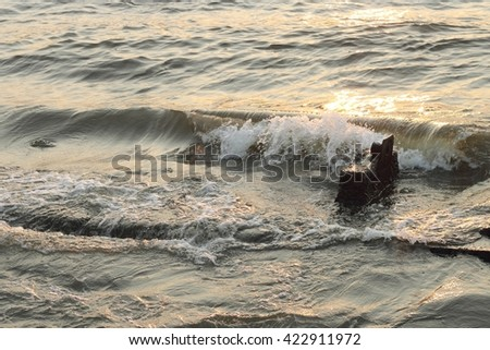 water texture and wave with sunlight - stock photo