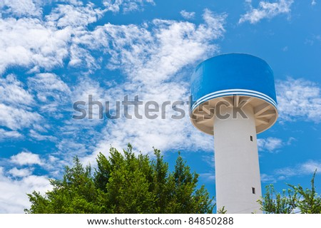 water tower and blue sky in Thailand