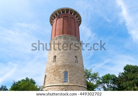 water tower on national register of historic places in western springs a suburb of chicago illinois cook county - stock photo