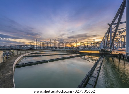 Water Treatment Plant at sunrise - stock photo