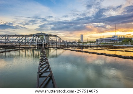 Water Treatment Plant at twilight - stock photo
