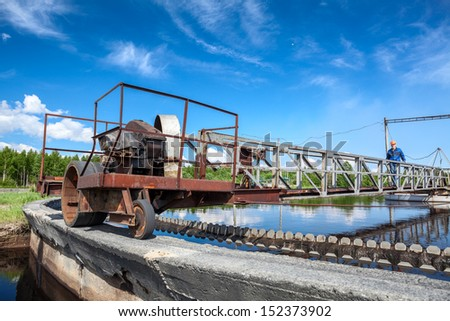 Water treatment unit for sewage cleaning in settlers - stock photo