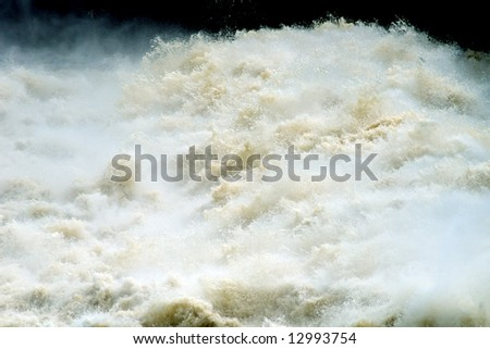 Water under a dam of hydroelectric power station, Volkhov, Russia