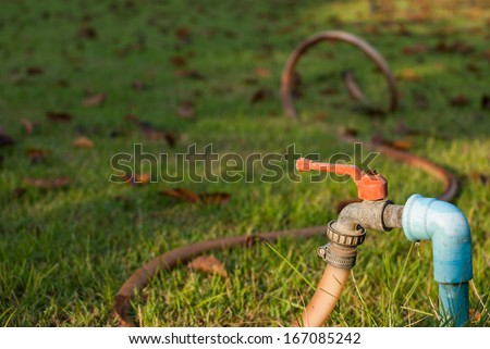 Water valve with hose on the lawn in the garden at morning