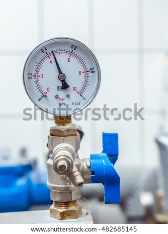 Water Valve Pressure Gauge Mounted Boiler Stock Photo (Royalty Free ...